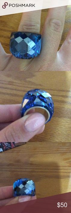 Blue Nirvana Swarovski Crystal Ring Worn a few times, great condition, a few chips on the top hard to show in pictures due to the reflecting and the way it's cut. Swarovski Jewelry Rings