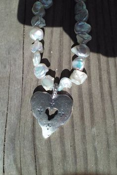 Pearls and Sterling Silver Heart Necklace by smisko on Etsy