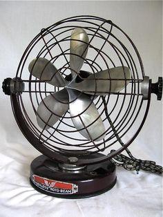 """Rotobeam 10"""" Fan  Circa 1940 Antique Fans, Vintage Fans, 47 Metres Down, Decor Interior Design, Diy Design, Wind Machine, Antique Shelves, Retro Fan, Old Fan"""