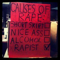 """Causes of rape: short skirt, nice ass, alcohol, RAPIST."""
