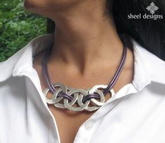Metal Circle Link Leather Necklace bold hammered by SHEELdesigns, $48.00