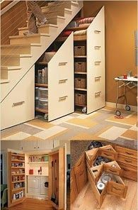 Inspiring Under Stair Storage with Smart Ideas for Designing : Under Stairs Storage Cabinets For Small Spaces On Modern Home Designed With Minimalist Cream Fronted Doors And Simple Metal Horizontal U Pull Out Handles