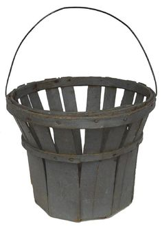 Mid 19thC NE berry gathering basket with pierced wood staves and wire handle in original pewter gray paint.
