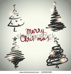 Vector Christmas tree design set sketch style