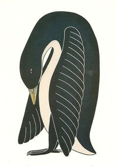 Inuit Art—Part II: Young Canadian Goose preening, stonecut and stencil, by artist: Kavavaow Mannomee