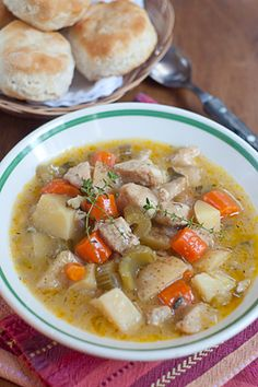 Slow Cooker Chicken Stew -   1 lb. boneless skinless chicken breasts or thighs,  1/4 tsp. poultry seasoning,  Salt and pepper,  2 tbsp flour,  2 tbsp oil,  4 medium Yukon gold potatoes,  2 stalks celery,  4 medium carrots,  1 medium yellow onion,  1/4 cup fresh parsley,  1 can cream of chicken soup,  1 soup can water,  1/2 tsp dried thyme