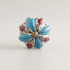 Blue and Red Floral Ceramic Knobs, Set of 2