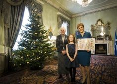 First Minister Nicola Sturgeon, with Mairi Hedderwick and Cherry Campbell (centre) who plays Katie Morag on TV