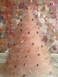 Pink Christmas Tree Made From Tulle