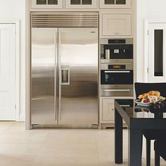 Neutral kitchen with stainless-steel fridge-freezer | Kitchen decorating | Beautiful Kitchens | Housetohome.co.uk