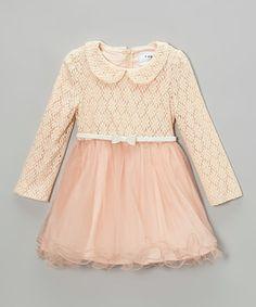 Look at this #zulilyfind! Peach Flower Flounce Dress - Toddler & Girls #zulilyfinds