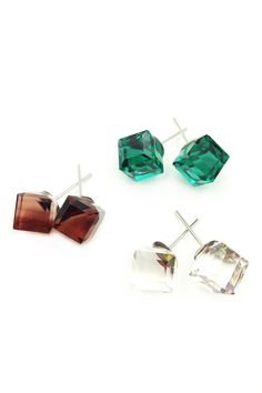 Colorful square crystal earring