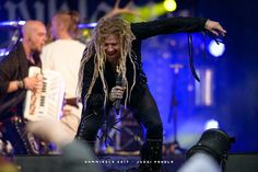 Korpiklaani (Jonne (Vocals, Guitars, Hurdy Gurdy, Percussion), Matson (drums), Rounakari (Fiddle), Jarkko (bass), Sami (accordion), Cane (guitars)) from Vesilahti, Tampere, Pirkkala, Helsinki, Oulu & Lahti, Finland, performing Folk Metal at the Nummirock Metal Festival 2017 on Saturday June 24, 2017 in Kauhajoki, Finland