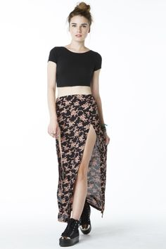 Double slit maxi skirt...Must. HAVE! Especially with leggings -it would be so cute!
