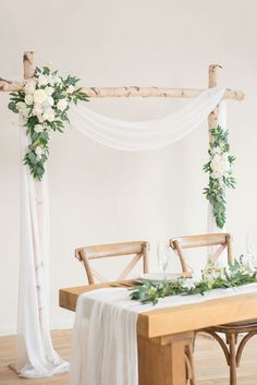 2pcs Flower Arch Décor with Sheer Drape (Pack of 3) - Timeless White White Wedding Arch, Dusty Rose Wedding, Diy Wedding Arch Flowers, Wedding Arch Greenery, Neutral Wedding Decor, Minimalist Wedding Decor, Greenery Decor, Wedding Arches, White Weddings