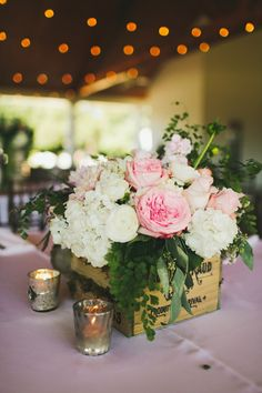 Rustic glam wedding ideas - floral wedding box