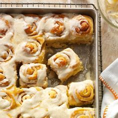 Can't-Eat-Just-One Cinnamon Rolls Recipe -My cinnamon rolls have been known to vanish quickly. Once I dropped off a dozen rolls for my brothers, and they emptied the pan in 10 minutes. —Regina Farmwald, West Farmington, Ohio