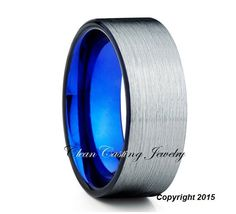 blue tungsten ring tungsten wedding band blue tungsten carbide ring mens tungsten wedding band comfort fit