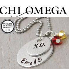 This charming hand stamped Chi Omega necklace is the perfect gift for your big or lil sister this school year. It would make the perfect gift for yourself, too! #ChiOmega, #ChiO, #Sorority, #SororitySisters, #SororityJewelry