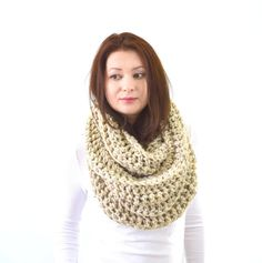 DESCRIPTION  *100% Hand crocheted scarf. *A scarf made of super soft 20% lambs wool and 80% acrylic blend yarn. *Seamless *Infinity Style *Easy wear *Soft and Snuggly *Machine washable and dry-able *Chunky for extra warmth.  *Pictured Color: Oatmeal   MEASUREMENTS  Width: 10 in (25.4 cm) Circumference: 64 in (162 cm) Size: one size fits all.   CUSTOM ORDERS  I love custom orders and if you want to have this scarf in any other color(s), please feel free to choose any color from last photo…