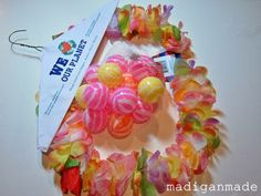 A Wreath from Flower Leis and Ball Pit Balls ~ Madigan Made { simple DIY ideas }