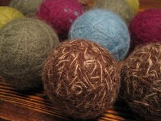 Bright/Dark Color Wool Dryer Balls Natural 100% by PureGRACESoap  Wool Dryer Balls are used to replace the need for dryer sheets and fabric softener. They take the chemical component out of your laundry and they are one of our favorite products to create. In addition to no longer needing dryer sheets and fabric softener, the wool dryer balls do not cause static and help to reduce the amount of time the laundry is in the dryer therefore saving you time and money on your electricity bill.