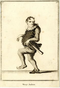 """""""Merry Andrew""""  a jester creeping to right, looking to front with fan in left hand; from late series of the Cries of London, the plate worn.  1688, re-published after c.1750 Etching and engraving"""