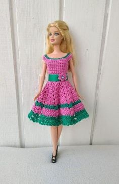 Clothes for Barbie Crochet Dress for Barbie Doll Clothes for Barbie Crochet Dress for Barbie Doll by Barbie Et Ken, Free Barbie, Barbie Mode, Crochet Doll Dress, Crochet Barbie Clothes, Barbie Clothes Patterns, Dress Patterns, Crochet Patterns, Accessoires Barbie