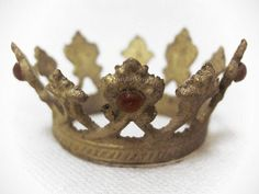 Petite Small Santos Crown 'Gold' with Red Rhinestones Great on A Small Doll | eBay