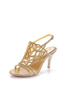 Shop Sandals - Golden PU Summer Rhinestone Dress Sandal online. Discover unique designers fashion at StyleWe.com.