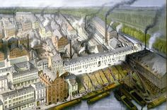 The factories  (Mosa, Sphinx) of Petrus Regout near the harbour of Maastricht.