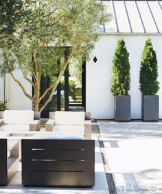 Rather than fragment the space, several intimate moments contribute to the courtyard's cohesiveness. Grouping is furnished with RH's Marbella outdoor furniture and CB2 coffee and side tables.