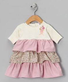 Take a look at this Off-White & Pink Tiered Dress by Welcome Baby: Apparel & Accessories on #zulily today!
