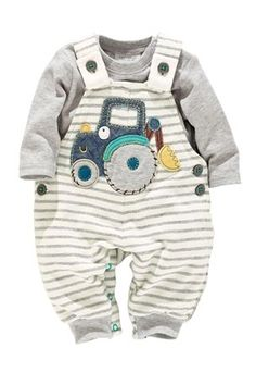 Jersey Tractor Dungarees And Bodysuit (0-18mths)
