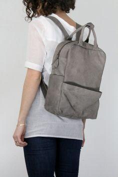 Grey Leather Backpack LadyBirdesign