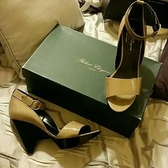 """Robert Clergerie sandals Worn once.see soles.""""Dahra"""" size 9.the color is buff,wedge platform.ankle strap,soft patent .peep toe Robert Clergerie Shoes Heels"""