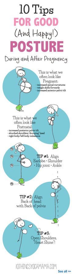 10 great tips for finding healthy posture during and after pregnancy. Good posture is not only essential for the health of the spine and for the proper functioning of the organs, it also has a direct effect on our outlook on life, usually bringing upon a more positive frame of mind. For the prenatal and postpartum mama, a healthy posture can lead to more comfort during pregnancy as well as play an important role in postnatal recovery.