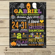 Halloween First Birthday Chalkboard Poster - Halloween Chalkboard Sign Printable - Halloween Birthday Decorations - Halloween Printables Halloween 1st Birthdays, Halloween First Birthday, Halloween Party Favors, 1st Birthday Photos, Boy First Birthday, 1st Birthday Parties, First Birthdays, Halloween Decorations, Birthday Ideas