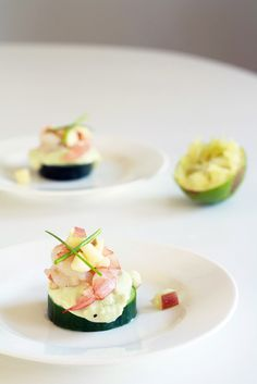 Party Shrimp by heoyeahyum: Shrimp on avocado mousse and lightly pickled cucumber with apple salad! #Appetizer #Shrimp