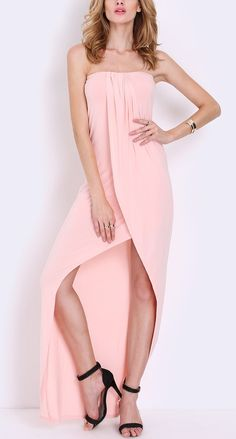 Pink strapless asymmetric dress by SheIn