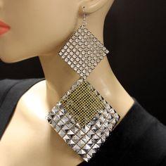 Rhinestone & Mesh Earrings
