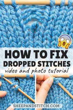 Learn how to fix a dropped stitch in your knitting in this detailed post. When a& Learn how to fix a dropped stitch in your knitting in this detailed post. When a stitch or two drops, it& no big deal. You can rescue that dropped stitch in no time at all! Knitting Basics, Easy Knitting Projects, Knitting Charts, Knitting For Beginners, Knitting Patterns Free, Free Knitting, Stitch Patterns, Start Knitting, Knitting Tutorials