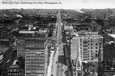 A 1910 postcard shows a bird's eye view of North Broad Street taken from the Philadelphia City Hall tower. (Historical image courtesy of Arcadia Publishing.)
