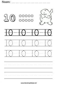 Getal 10. Leer het getal 10 schrijven, werkblad om te printen en het schrijven te oefenen. French Kids, Writing Numbers, Kindergarten Worksheets, Preschool, Knowledge, Teacher, Lettering, Education, Learning