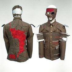Textile art by Paddy Hartley  Project Facade – Walter Fairweather – Infantry Uniform, digital embroidery, digital fabric print, felt.