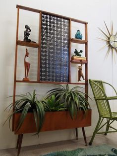retro VINTAGE indoor planter ROOM DIVIDER BOOKSHELF - suits teak & Danish decors