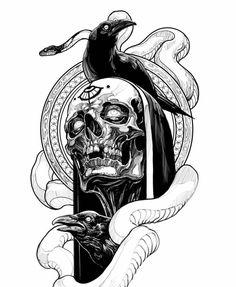 Occult Tattoo, Demon Tattoo, Raven Tattoo, Scary Tattoos, Skull Tattoos, Body Art Tattoos, Dark Art Tattoo, Blue Tattoo, Small Girl Tattoos