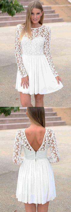 A-Line Bateau Long Sleeves White Chiffon Homecoming Dress with Lace