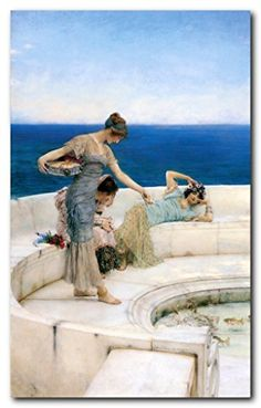 This unique and wonderful wall poster will help to bring instant character with a decorative touch into your home. This poster depicts the image which illustrates Silver Favorites beautiful painting in which a trio of lovely young women in a classical garments preoccupied with the process of feeding a small group of fish in a shallow pond. It will be an ideal option for gifting. This poster would make a perfect topic of conversation.