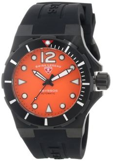 Swiss Legend Women's 10061A-BB-06-W Abyssos Automatic Orange Dial Black Silicone Watch Swiss Legend. $499.99. Black second hand. Water-resistant to 1000 M (3280 feet). Sapphitek crystal; black ion-plated stainless steel case; black silicone strap with logo. Precise 18 jewels Swiss automatic movement. Orange dial with black and white hands, hour markers and Arabic numeral 12; luminous; unidirectional stainless steel bezel with black top ring; screw-down black ion-plated stainl...